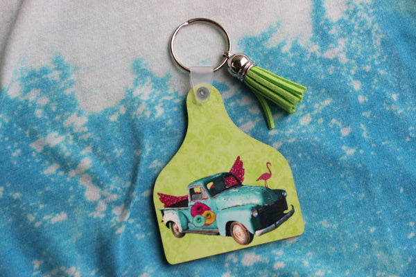 Fun Key Chain with truck with pink glitter wings and flamingo, ear tag shaped key ring