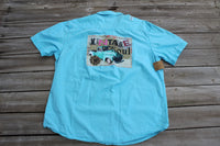 XL Vintage Soul turquoise distressed shirt with truck graphic, short sleeve button up shirt JE391