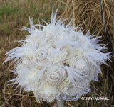 All White Cream Burlap, Lace, Feathers, and Pearls Rustic Chic Bridal Wedding Bouquet