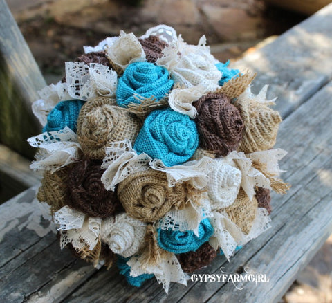 Turquoise Burlap and Lace Bride's Bouquets, Bridesmaid, and Boutonnieres Custom Wedding Arrangements with Fabric Flowers, Keepsake Bouquet