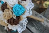 Turquoise Burlap and Lace Bride's Bouquets, Rustic Bridesmaid Flowers and Boutonnieres