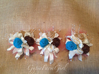 Turquoise Burlap and Coral Tulle  and Lace Bride's Bouquets and Corsages Custom Wedding Arrangements with Fabric Flowers