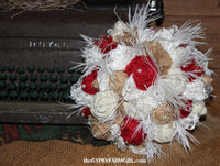Burlap Bouquet with Red, Tan, and White Roses, Lace, Feathers for Rustic Wedding