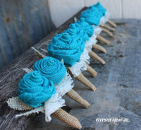 Turquoise Burlap Boutonnieres for Groom, Groomsmen, Bout, Rustic Wedding Flowers