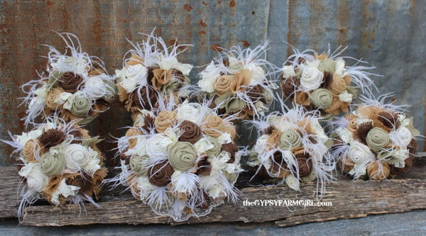 Sage Green Burlap and Lace Wedding Bouquets with Feathers