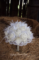 White and Ivory Burlap, Lace, Feather, and Pearl Bridal Bouquet wedding bouquet