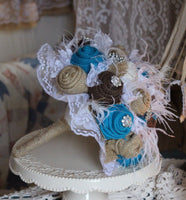 The Rhinestone Cowgirl - Turquoise Burlap and Lace Bride's Bouquet with feathers and rhinestones