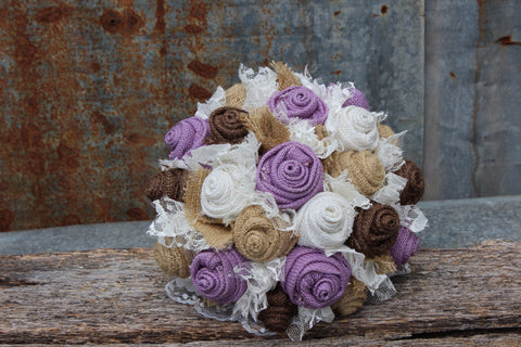 Lavender Burlap Bouquet, Burlap and Lace Wedding Flowers