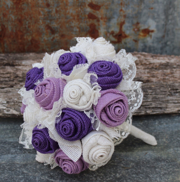 Purple and Lavender Burlap and Lace Wedding Bouquets Bridal Bouquet for rustic wedding