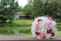 Red, Pink, and Cream  Burlap and Lace Rustic Wedding Bouquets Bridal Bouquet