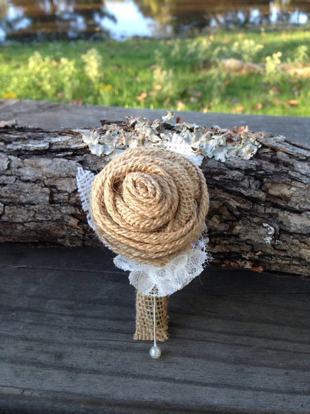 Customized Burlap Rose Boutonnieres for Vintage Farm Rustic Wedding with Burlap and Lace