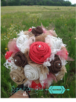 Coral Burlap and Lace Tulle medium size Bridal or Bridesmaid Bouquet Rustic Wedding Bouquets