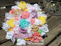 Spring Pastel Burlap Bouquet, Rustic Burlap and Lace Bridal Bouquet-GypsyFarmGirl-Rust and Romance
