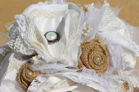 Rustic Fabric Wedding Bouquet with burlap, lace, and satin flowers eJ15-GypsyFarmGirl-Rust and Romance