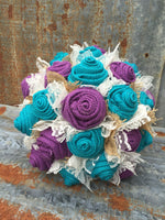 Turquoise and Purple  Burlap and Lace Bride's Bouquets Custom Wedding Flowers