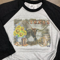 Western Theme Texas Tee with Longhorn Baseball T Shirt