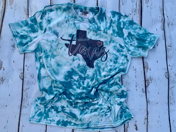 Texas turquoise bleached tee with serape heart
