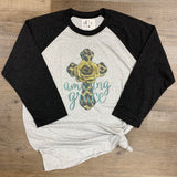 Amazing Grace tee shirt with leopard cross and mustard yellow rose