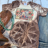 The Sassy Cowgirl - bleached tee with Western Vintage Cowgirl-Rust and Romance