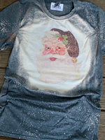 Vintage Santa Claus with Leopard Hat on a bleached tee shirt-Graphic T Shirts-Gypsy Farm Girl