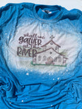Shall we gather at the river bleached graphic tee-Rust and Romance