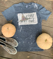 Hat Hair Don't Care bleached tee with Witches Hat-Graphic T Shirts-Gypsy Farm Girl