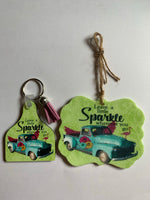 Leave a Little Sparkle key chain and car air freshener car accessory set key chain and freshener
