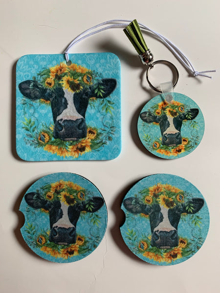 Sunflower and Cow car accessory set
