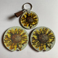 Leopard sunflower key chain and car coasters car accessory set