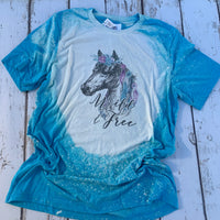 Wild and Free bleached tee with horse with turquoise and purple feathers-graphic t shirts-Gypsy Farm Girl