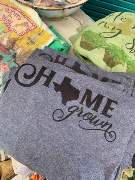 Home Grown Texas Tee - short sleeve denim colored tee-Rust and Romance