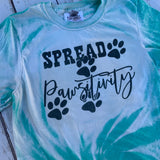 Spread Pawsitivity - dog foot prints on bleached tee shirt Spread Positivity-Graphic T Shirts-Gypsy Farm Girl