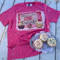 All you need is love and a cupcake (or 3!) bleached tee shirt with cupcakes