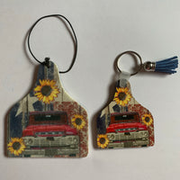 Red Truck and Sunflower key chain and car air freshener car accessory set key chain and freshener