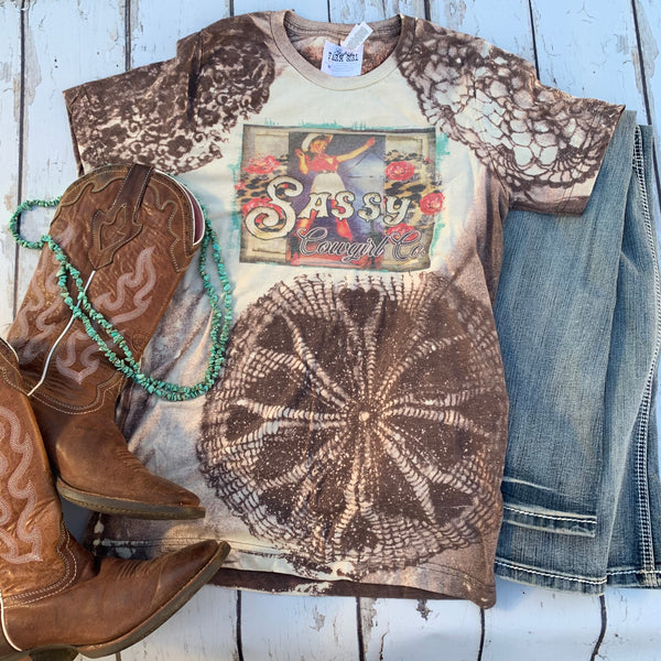 Sassy Cowgirl bleached tee with vintage cowgirl and lace print