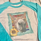 Flossie the Donkey Tee Shirt-Rust and Romance