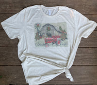 Christmas on the Farm - graphic tee with barn scene decorated for Christmas