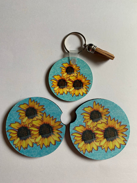 Sunflower key chain and car coasters car accessory set