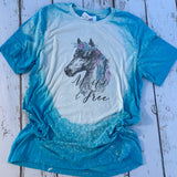 Wild and Free bleached tee with horse with turquoise and purple feathers