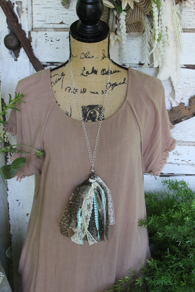 Leopard and Lace Tassel Necklace with Chandelier Crystal, long tassel necklace