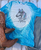 Wild and Free Horse with feathers and flowers - bleached tee