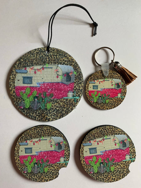 Leopard print, cactus, and pink camper car accessory set