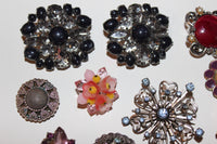 Pink, purple, blue vintage brooch jewelry lot butterfly and flower brooches
