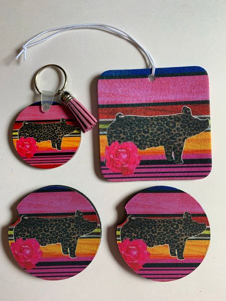 Leopard serape show pig car accessory set
