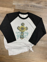 Amazing Grace vintage style baseball tee with leopard cross and mustard rose