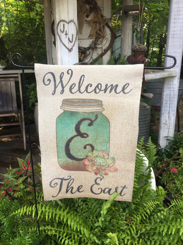 Welcome Garden Flag with mason jar and succulents to be personalized