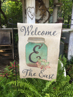personalized garden flag with name and initial - burlap flag with mason jar and succulents
