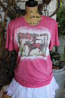 Long Live the Cowboys Bleached T shirt with Bronco and Cactus-Graphic T Shirts-Gypsy Farm Girl