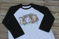 Baseball Love Graphic T Shirt with baseball bats and ball, leopard print and flowers