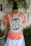 Love Your Local Orange tie dye bleached tee shirt